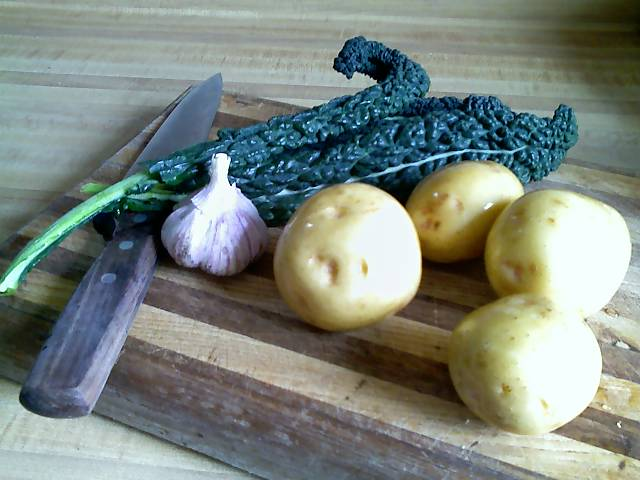 dino kale, yukon gold potatoes, and korean garlic
