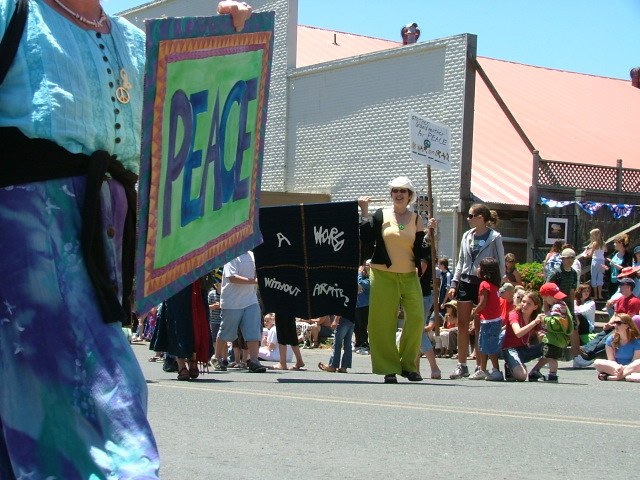 peace posters in the mendocino fourth of july parade
